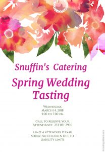 Snuffin's Catering March Tasting